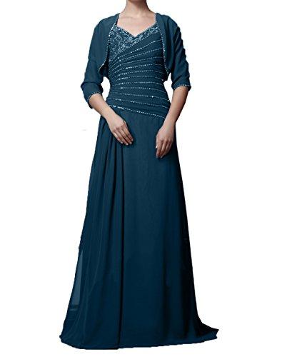 Jaket Navy Elegant Damen Langarm Blau Partykleider Chiffon mit Brautmutterkleider Ballkleider Abendkleider Charmant vzwafqCR