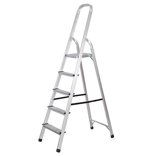 Goplus Foldable 5 Step Ladder Aluminum 6 foot Platform Ladder Non-slip 330 lbs Capacity Aluminum Platform Step Ladder