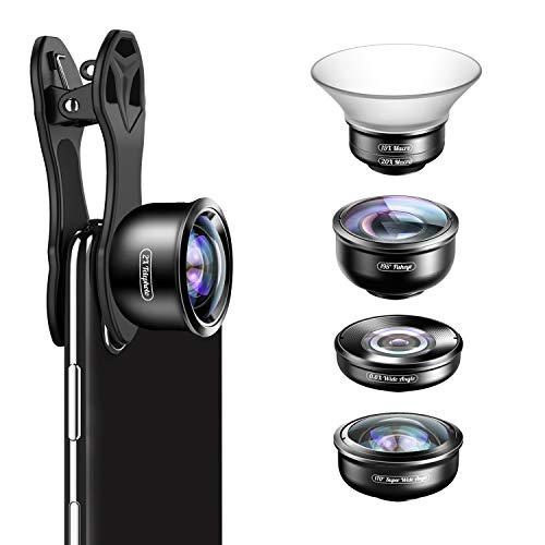 Apexel HD Mobile Phone Camera Lens Set, 5 in 1 Phone Lens- 15-20x Macro Lens, 110°Wide Angle, 170°Super Wide Angle, 195°Fisheye, 2x Portrait Lens for iPhone XS Max/X/XR/8/7/6Plus & Samsung - Mobile Macro Phone Lens