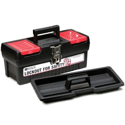 Polypropylene Empty Lockout Tool Boxes - 7.1'' x 14'' x 5.5'', Black / Red / White LOCKOUT FOR SAFETY