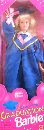 BARBIE GRADUATION DOLL Class of '96! SPECIAL EDITION w Blue MORTARBOARD Cap & GOWN, DIPLOMA & More (1995) -