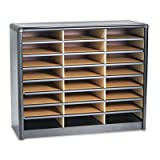 Steel/Fiberboard Literature Sorter, 24 Sections, 32 1/4 x 13 1/2 x 25 3/4, Black, Sold as 1 Each