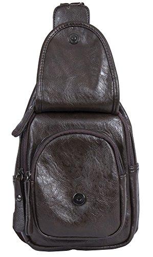 Big Handbag Shop - Bolso mochila  de piel sintética para mujer Backpack Style 1 -Coffee