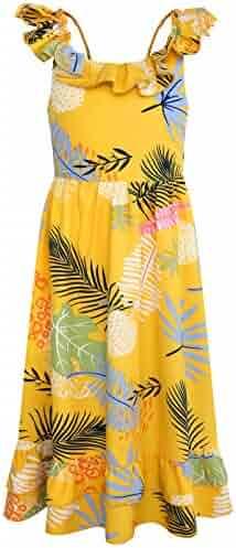 67af1a9185 Bonny Billy Girl's Spaghetti Straps Casual Bohemian Beach Maxi Long Dress
