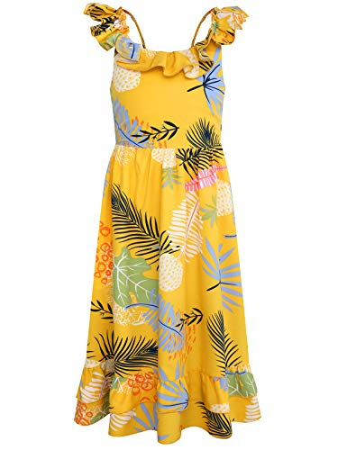 Bonny Billy Girl's Spaghetti Straps Casual Bohemian Beach Maxi Long Dress 7 8t Yellow