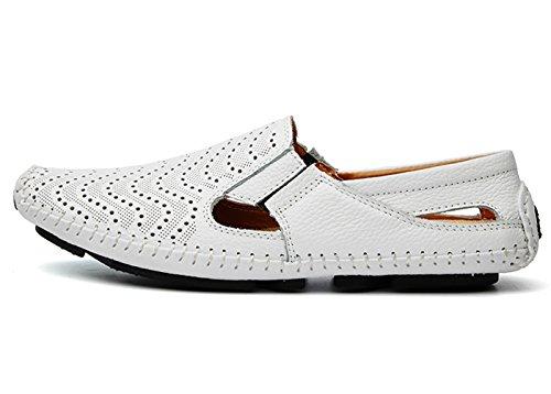 Hombre Casual Zapatos del Zapatos Barco Calzado CCZZ 37 para Cuero EU Plano Mocasines de Blanco Conducción Loafers Comodidad 46 x7I4S1