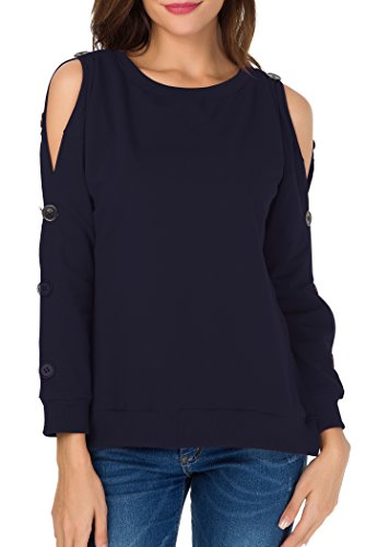 Sarin Mathews Womens Cold Shoulder Tops Long Sleeve Blouse Pullover Sweatshirts DarkBlue S from Sarin Mathews