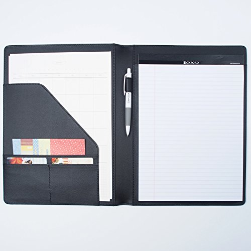 AHZOA 4 Pockets A4 Size Memo Padfolio S3 with Mechanical Pencil, Including 8.27 X 11.7 inch Legal Writing Pad, Synthetic Leather Handmade 9.84 X 12.99 inch Notepad Clipboard (Black) by AHZOA (Image #1)