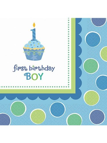 Amscan Sweet Little Cupcake Boy Luncheon Napkins - 36 ct (Sweet Cupcake Amscan Little)