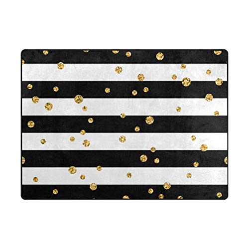 (Fantasy Star Play Mat for Kids - Gold Polka Dot Stripe Kids Area Rug Learning Carpet for Living Room Bedroom 6'8