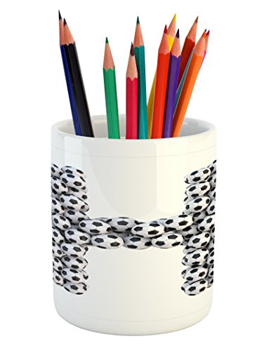 Ambesonne Letter H Pencil Pen Holder, Soccer Balls Arrangeme