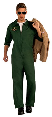 Flight Suit Costumes Men (Forum Novelties Men's Aviator Jumpsuit Pilot Costume, Green, One Size)