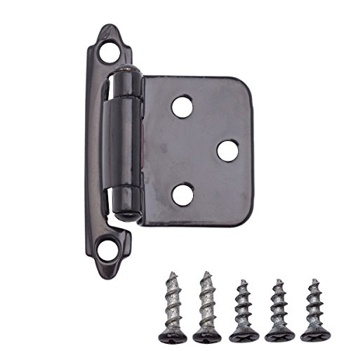 AmazonBasics 1/2 Inch Overlay Cabinet Door Hinges, 1 Pair, Flat Black, 10-Pack