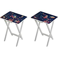 Cape Craftsmen Coastal Folding Wooden TV Tray Tables, Set of 2