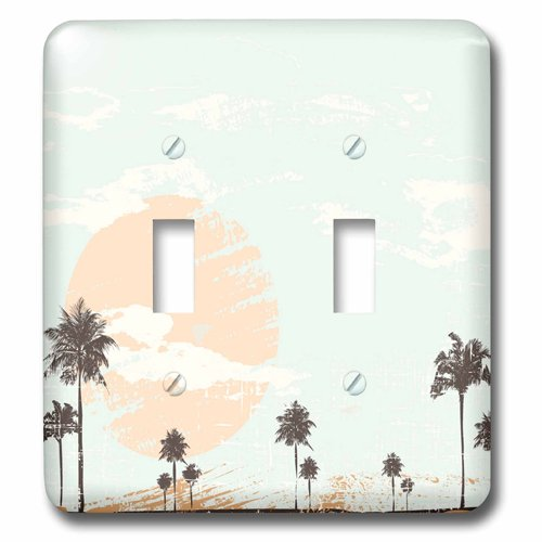 3dRose lsp/_152275/_2 Large Sunset with Palm Trees Double Toggle Switch
