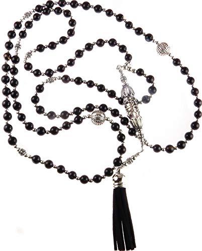 Muslim Worry Beads - Tasbih Muslim Worry Beads Islamic Rosary 99 Black Agate Beads & Silver