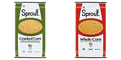 100 lb - Sprout Quality Cleaned Corn: 50 lb Whole corn + 50 lb Cracked Corn - For Farm Livestock and Wildlife Animal Feeding