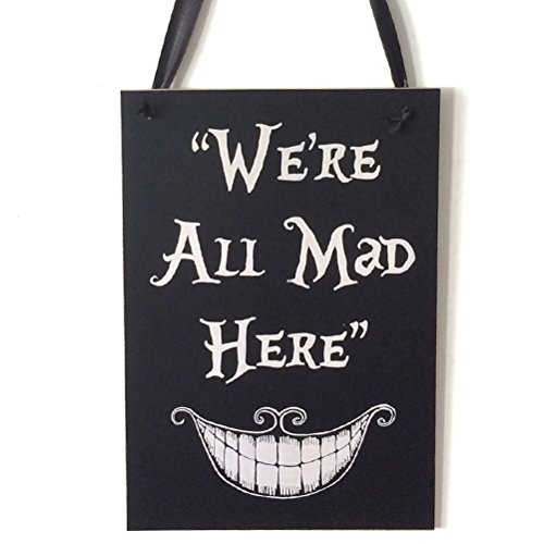 Tinksky Happy Halloween Wooden Door Hanger We're All Mad Hear Sign Hanging Decor Halloween Home Decoration Supplies halloween horror nights