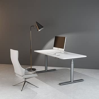 Electric Standing Desk Frame - FEZIBO Silver Height Adjustable with Single Motor Stand up Base White Right Angle Top