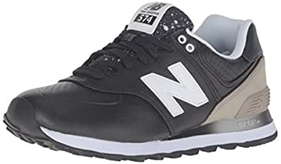 New Balance Women's WL574 Gradiant Pack Running Shoe, Black/Husk, 6 B US