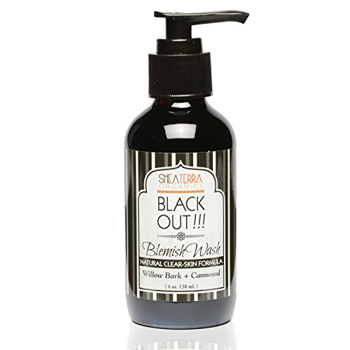 Shea Terra Organics Black Out!!! Blemish Wash Natural Clear Skin Formula | Skin Breakout Relief, Bacteria and Dead Skin Remover | All Skin Types - 4 oz