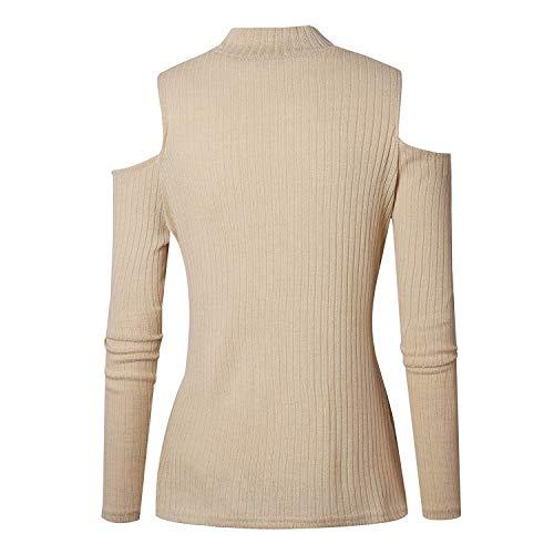 Pullover Tempo Off Collo Camicia Maniche Bluse A Felpe Rotondo Shirts Monocromo Camicetta Donna Eleganti Aprikose Libero Shoulder Jumper Lunghe Tops 807WZ