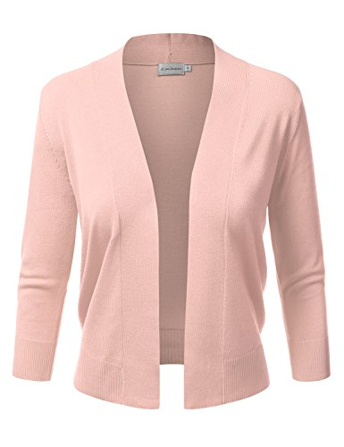 JJ Perfection Women's Basic 3/4 Sleeve Open Front Cropped Cardigan PEACH3 M