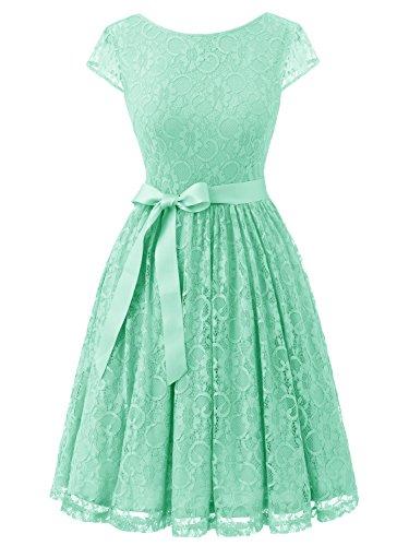 Mint Womens Dress - IVNIS RS90033 Women's Vintage Lace V Back Bridesmaid Party Dress Short Prom Dress Cap Sleeve Mint L