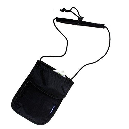 WINOMO Multifunktions ultra-dünnen Anti-Diebstahl Hals Brieftasche Pouch Sicherheit Geld Pass Inhaber Reisetasche (schwarz)