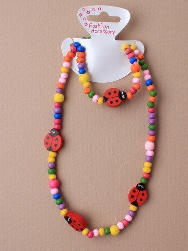 CHILDRENS Ladybird Beaded Necklace and Bracelet Set - PARTY bag fillers, stocking fillers, gifts for little girls by Party Lanes