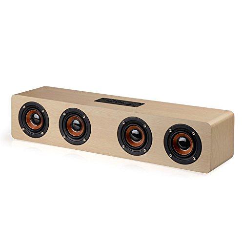 (Anynow HiFi Wireless Wooden Bluetooth Speaker Desktop Speaker Support TF Card AUX Handsfree Audio for Bookshelf Phone Home Computer(Yellow))