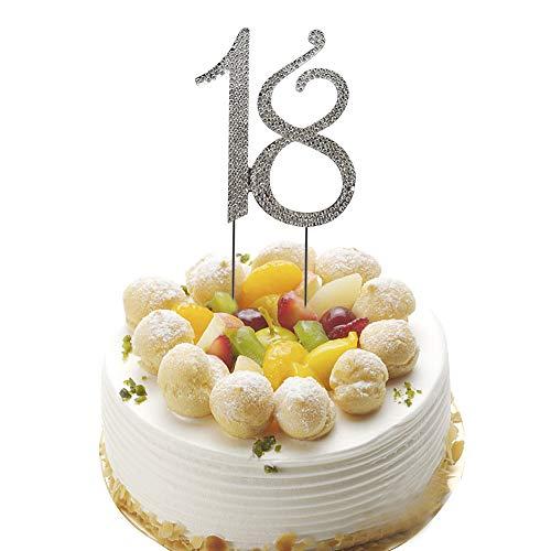 (HZOnline 18 Rhinestone Birthday Cake Topper, 18th Birthday Party or Wedding Anniversary Decoration Perfect Keepsake)