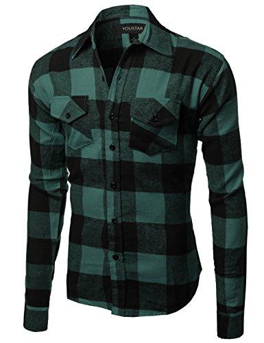Youstar Flannel Plaid Checkerd Long Sleeve Tshirts Green Black Size 2XL