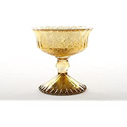 Koyal Wholesale 4.5-Inch Antique Gold Glass Compote Bowl Pedestal Flower Bowl Centerpiece