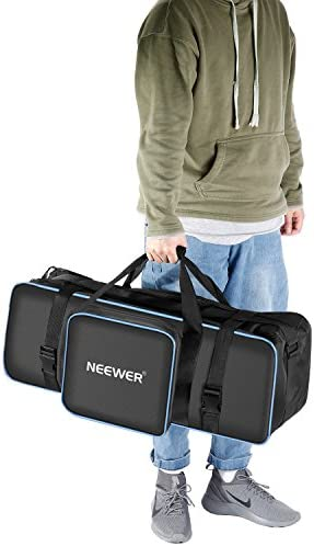 """Neewer Photo Studio Equipment 30""""x10""""x10""""/77x25x25cm Centimeters Large Carrying Case with Strap for Tripod, Light Stand, Photo Lighting Bundle Kit, Padded Compartments, Big Cushion Storage(Black/Blue)"""