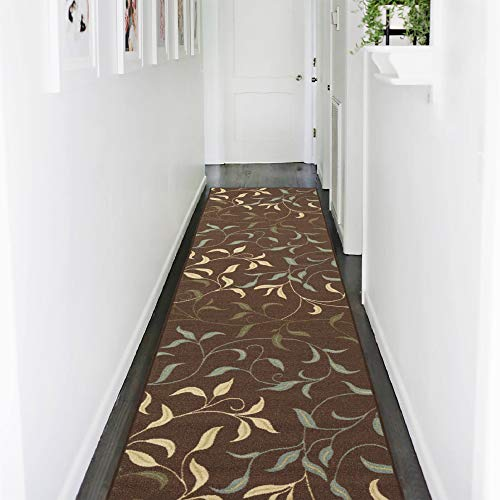 Ottomanson Ottohome Collection Contemporary Leaves Design Modern Hallway Runner Rug, 2'7
