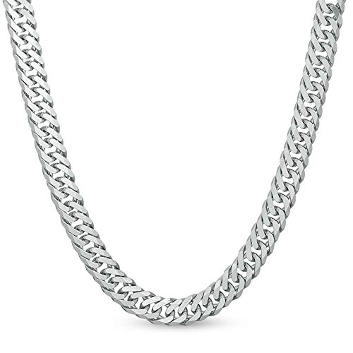 FZTN Jewelry Mens Classic Miami Cuban Link Chain 6mm Heavy Thick 18K White Gold Plated Diamond Cut Stainless Steel Rapper Necklace 20Inch Diamond Rolo Link Bracelet