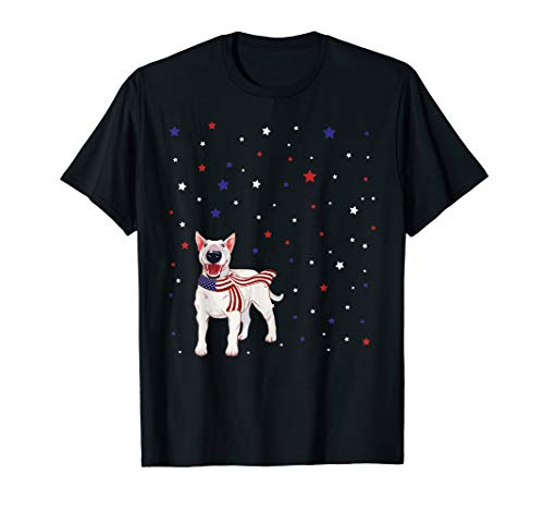 Bull Terrier American Flag Scarf 4th Of July Tshirt - T-shirt Bull Black Terrier
