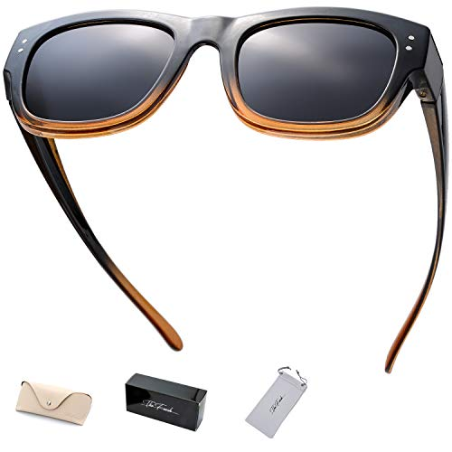 The Fresh High Definition Polarized Wrap Around Shield Sunglasses for Prescription Glasses - Gift Box Package (606-Crystal Black/Brown, Grey)