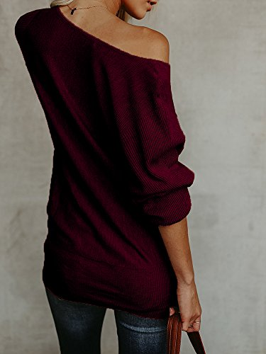 Sherryliy Womens Casual One Shoulder Loose Fit Boat Neck Long Sleeve Sweater Pullovers by Sherrylily (Image #2)