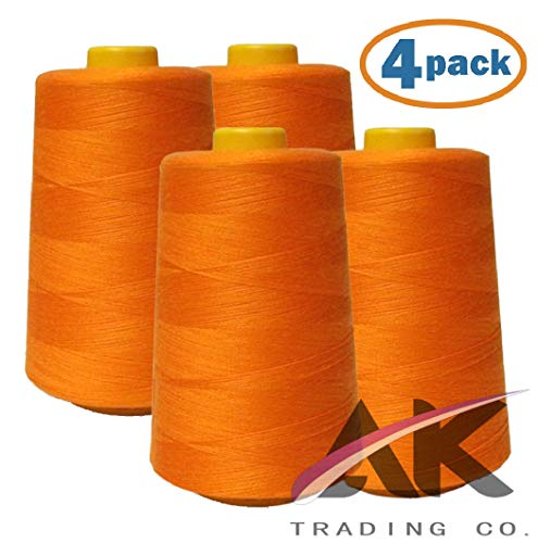 AK Trading 4-Pack Orange All Purpose Sewing Thread Cones (6000 Yards Each) of High Tensile Polyester Thread Spools for Sewing, Quilting, Serger Machines, Overlock, Merrow & Hand Embroidery.