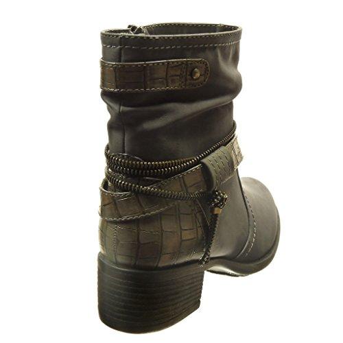 Angkorly - Zapatillas de Moda Botines flexible altas mujer cremallera Hebilla piel de serpiente Talón Tacón ancho alto 4 CM - Gris