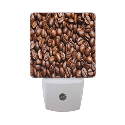 Customize 2PC Plug in LED Night Light Auto Sensor Dusk to Dawn Decorative Night Light for Bedroom,Bathroom,Kitchen,Stairs and More,Jamaican Blue Mountain Coffee Beans