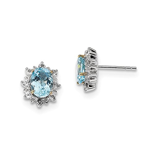 Perfect Jewelry Gift Sterling Silver & 14K Sky Blue & White Topaz Earrings