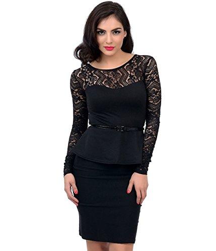 Plus-Elegant-Office-Lady-Black-Midnight-Rose-Sheer-Lace-Long-Sleeve-Peplum-Top