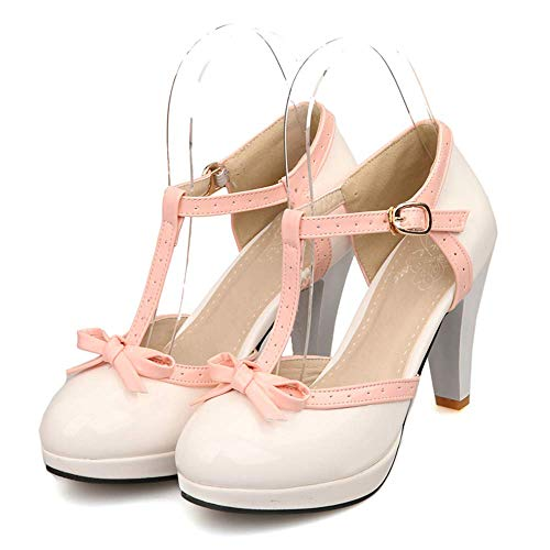 Lucksender Fashion T Strap Bows Womens Platform High Heel Pumps Shoes 7.5B(M)US White ()