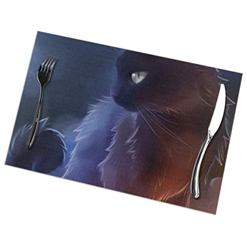 Warrior-cat-wallpapers-lovely-arrepiado-negro-gato-warrior-cat-iphone-4-wallpaper-of-warrior-cat-wallpapers Resistant Mat Food Holder Non-slip Plate Cup Coaster Cushion Placemat 12 x18 Inch 6PCS]()