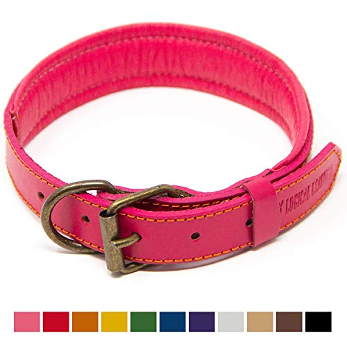 Logical Leather Padded Dog Collar - Best Full Grain Heavy Duty Genuine Leather Collar - Pink - Medium