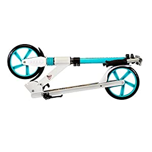 Scale Sports Teen/Adult White Kick Scooter Portable Lightweight Adjustable Suspension Rear Brake