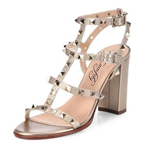 Sandalias Para Mujeres, Remaches Con Tachuelas, Tacones Con Bloque De Tiras Slingback, Zapatos De Gladiador, Corte Sandalias De Vestir, Metalizado, 9cm